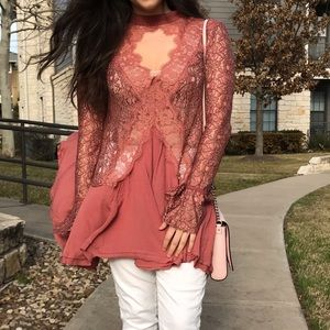 Free People Pink Lace Tunic